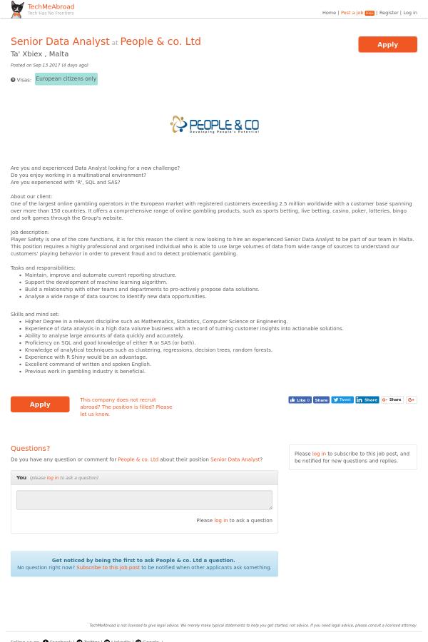 Senior Data Analyst job at People & co  Ltd in Malta