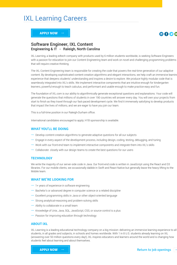 Software Engineer, IXL Content job at IXL Learning in Raleigh, NC ...