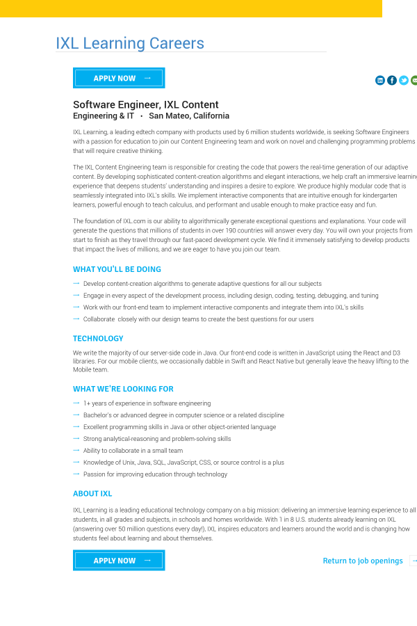 Software Engineer, IXL Content job at IXL Learning in San Mateo, CA ...