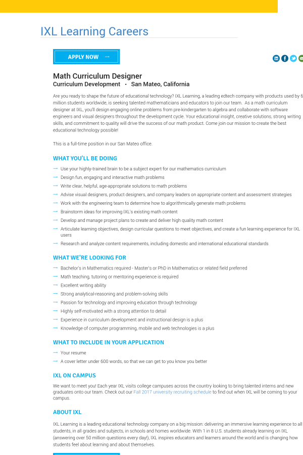 Math Curriculum Designer job at IXL Learning in San Mateo, CA ...