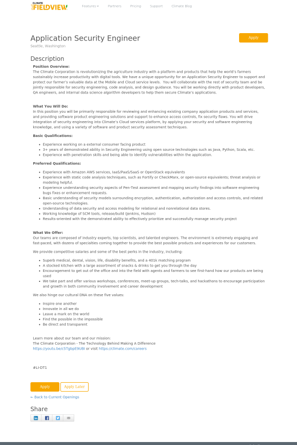 Application security engineer job at the climate corporation in description position overview altavistaventures Images