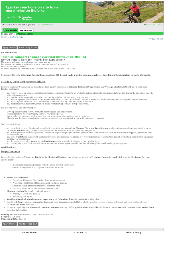 Technical Support Engineer Electrical Distribution job at Schneider ...