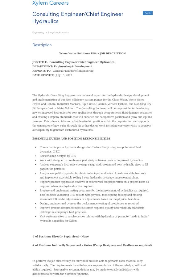 Chief Engineer Job Description   Consulting Engineer Chief Engineer Hydraulics Job At Xylem In