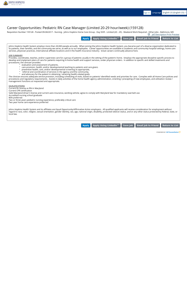 Pediatric Registered Nurse Case Manager Limited 20 29 Hour Week