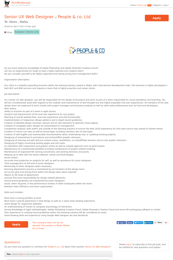 Senior Ux Web Designer Job At People Co Ltd In Malta 9152151 Tapwage Job Search