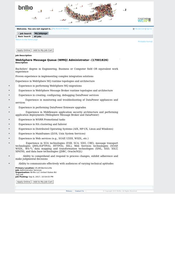 WebSphere Message Queue (WMQ) Administrator job at Brillio in ...