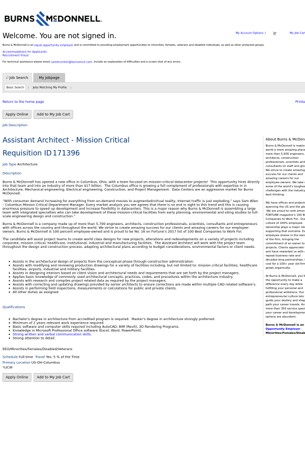 Assistant Architect Mission Critical job at Burns McDonnell in