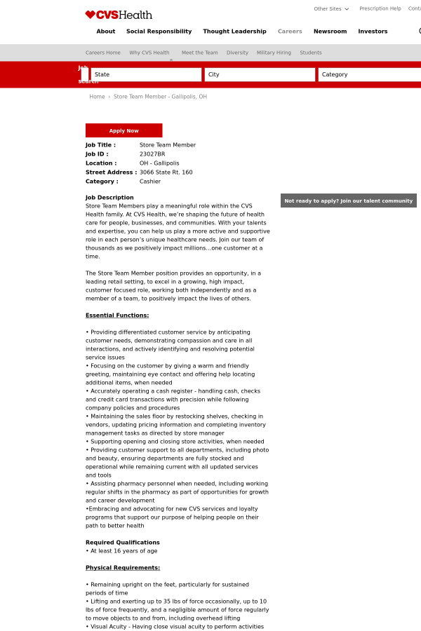 store team member job at cvs health in gallipolis oh 9396215