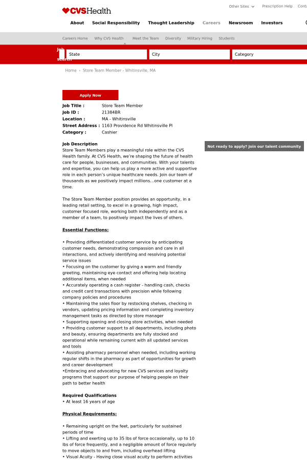 store team member job at cvs health in whitinsville ma 9404181