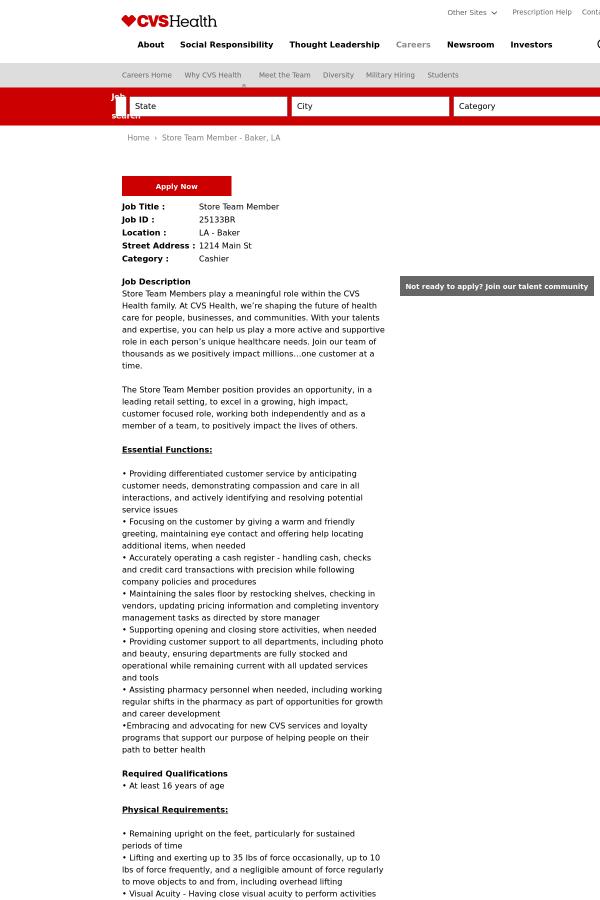 store team member job at cvs health in baker la 9411780 tapwage