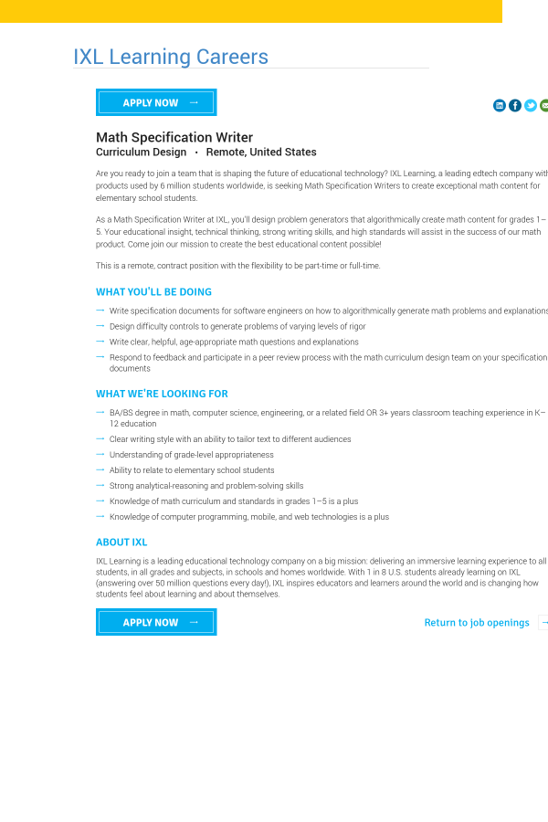 Math Specification Writer job at IXL Learning in United States ...