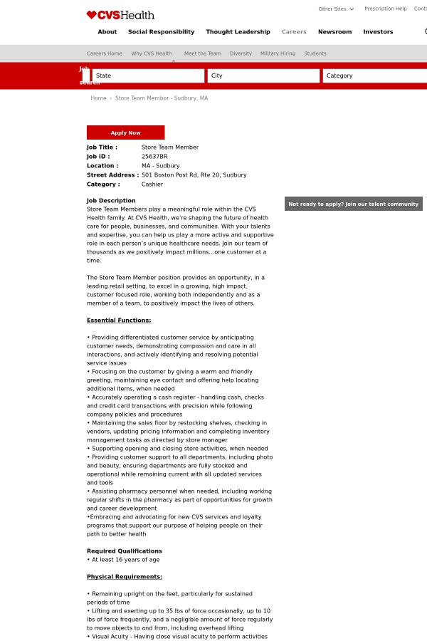 store team member job at cvs health in sudbury ma 9466906