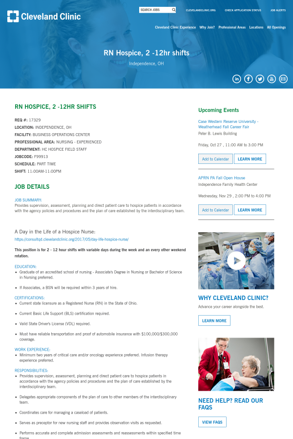Registered Nurse Hospice, 2 - 12hr Shifts job at Cleveland Clinic in ...