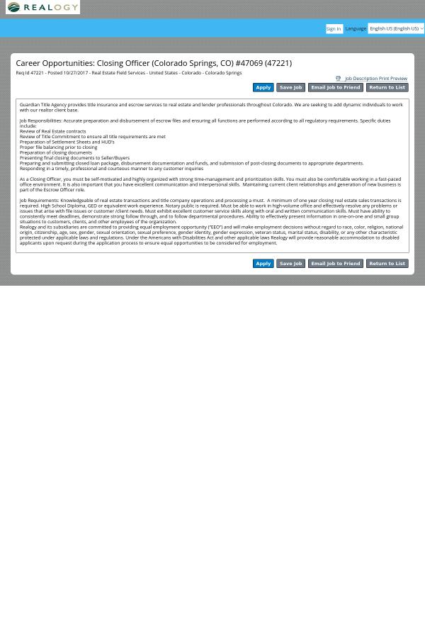 Closing Officer (Colorado Springs, CO) # job at Realogy in Colorado ...