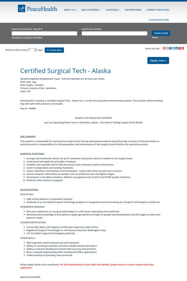 Certified Surgical Tech Alaska Job At Peacehealth In Ketchikan Ak
