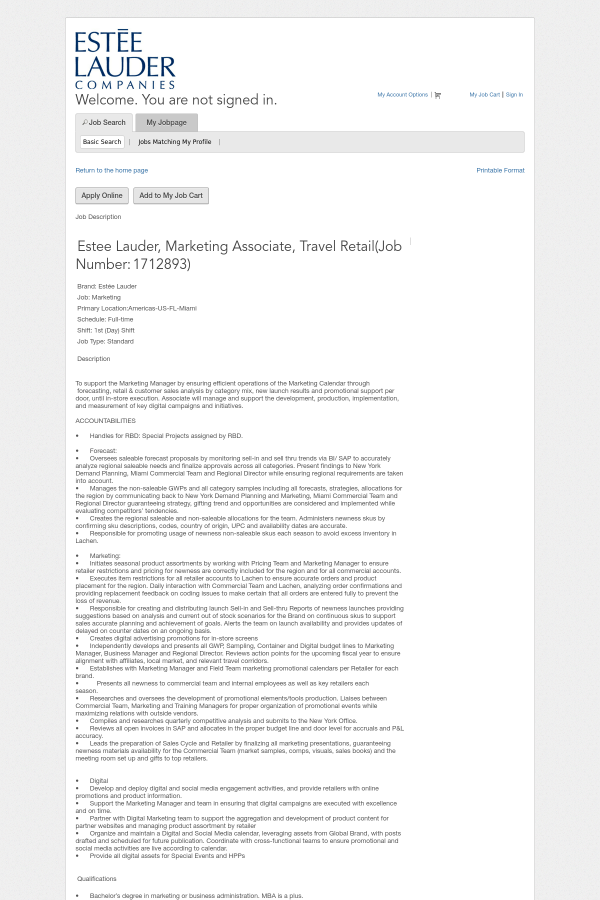 Estee Lauder, Marketing Associate, Travel Retail job at Estée Lauder ...