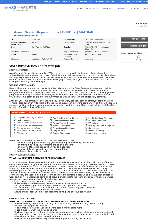 Customer Service Representative|, Mid Shift job at Mass Markets in ...