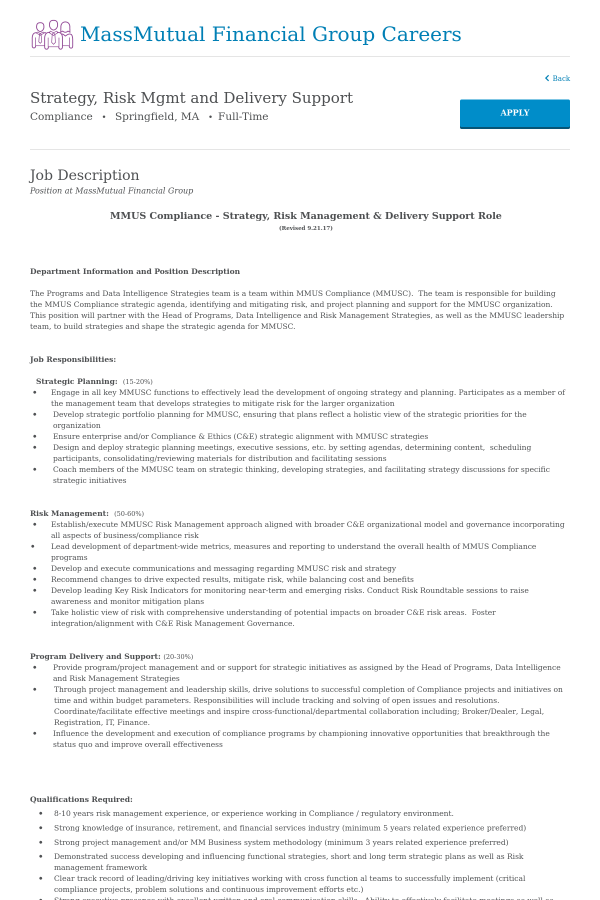 Strategy, Risk Management and Delivery Support job at MassMutual in ...
