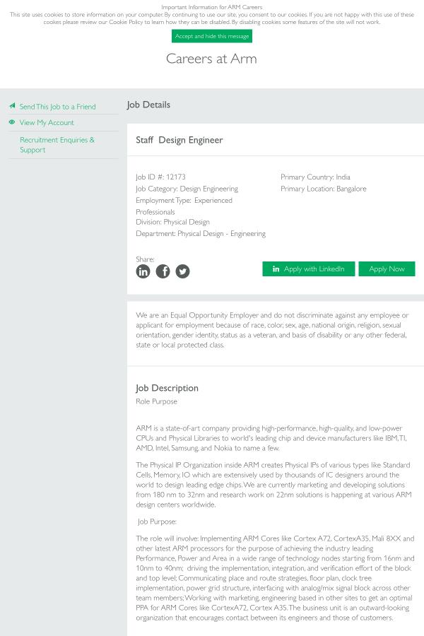Beautiful Staff Design Engineer Job At ARM In Bangalore, India | Tapwage Job ...