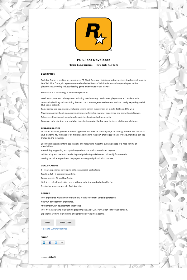 PC Client Developer job at Rockstar Games in New York City