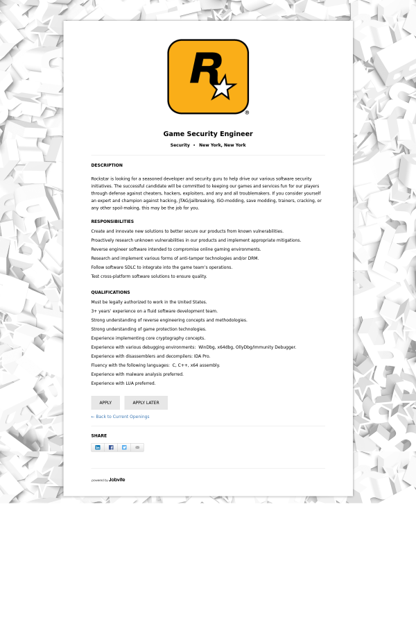 Game Security Engineer job at Rockstar Games in New York