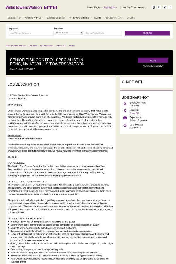 job description job title senior risk control specialist