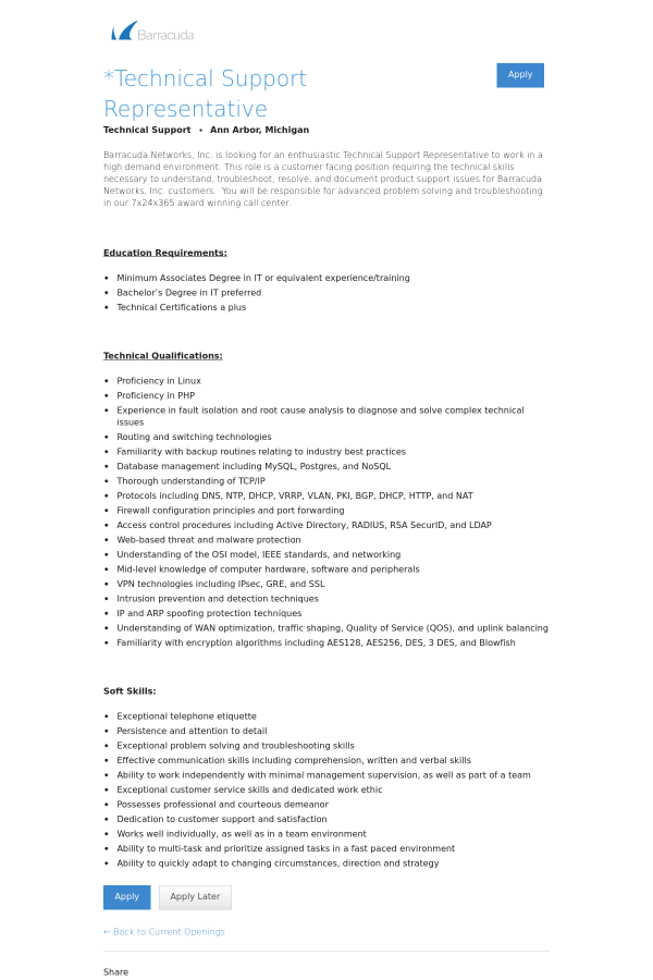 Technical Support Representative job at Barracuda Networks in Ann ...