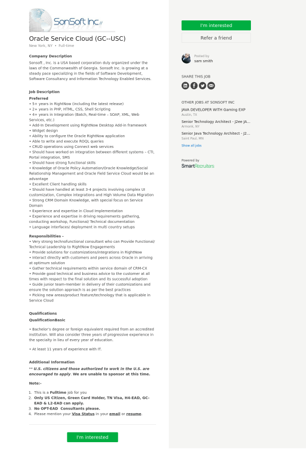 Oracle Service Cloud (GC - USC) job at SonSoft in New York