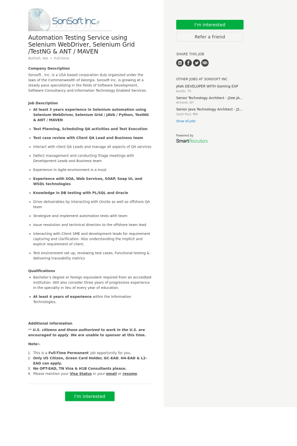 Company Description  Web Services Testing Resume
