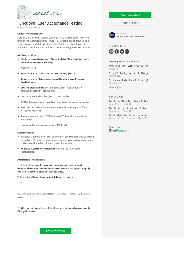Functional User Acceptance Testing job at SonSoft in Plano, TX ...