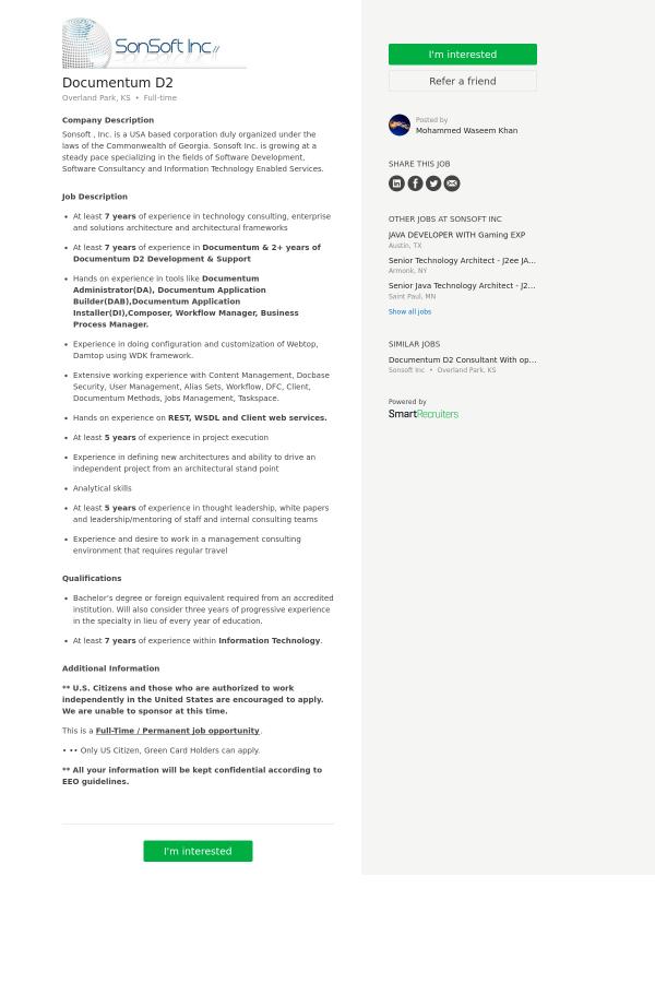 Documentum D2 job at SonSoft in Overland Park, KS - 9961555