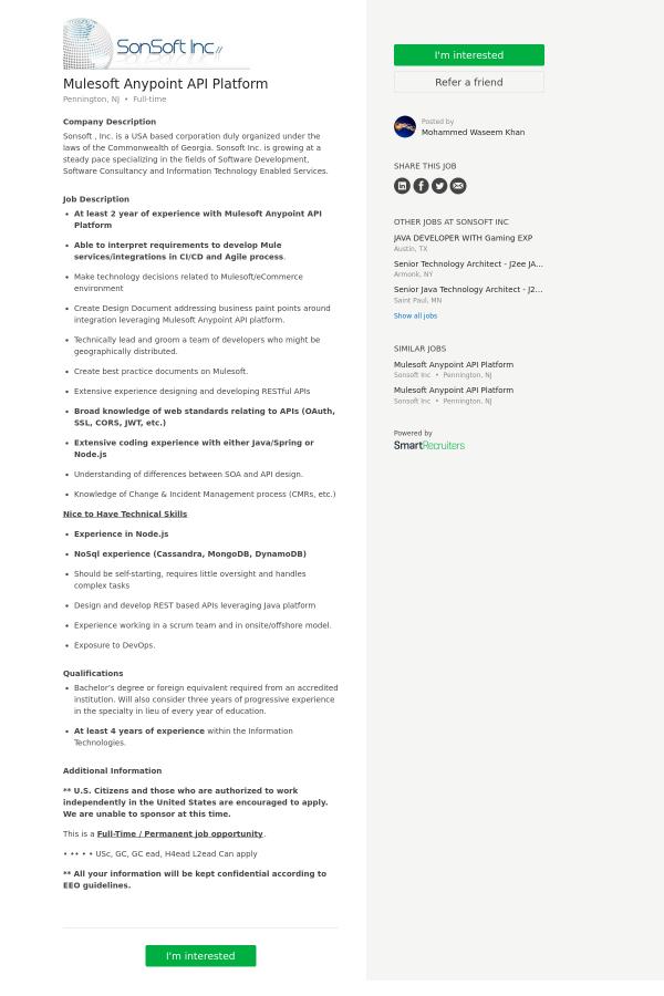 Mulesoft Anypoint API Platform job at SonSoft in Pennington, NJ