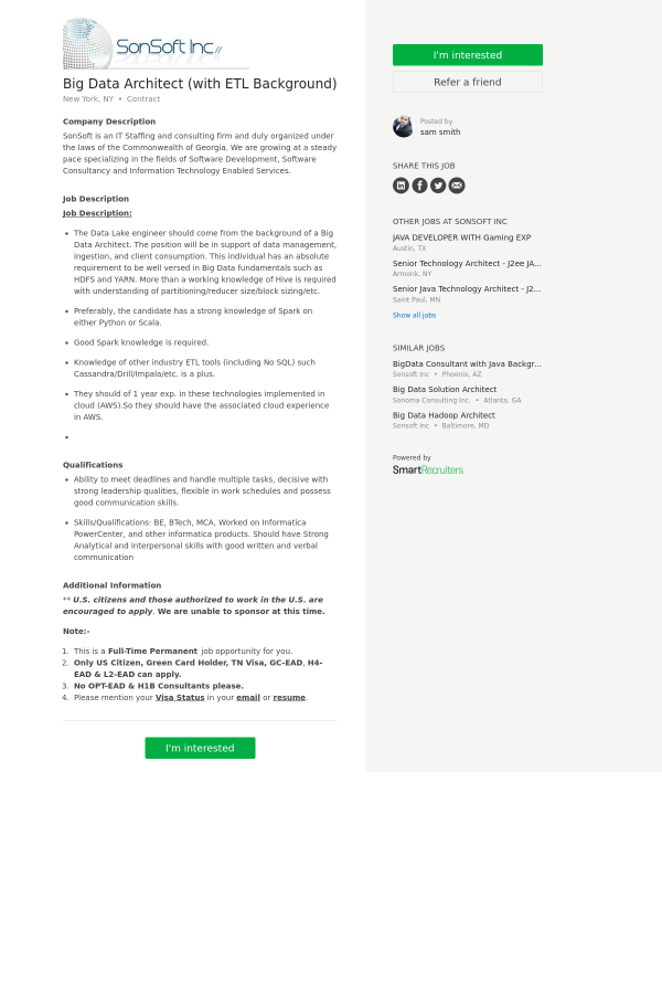 Big Data Architect (With ETL Background) job at SonSoft in New York ...