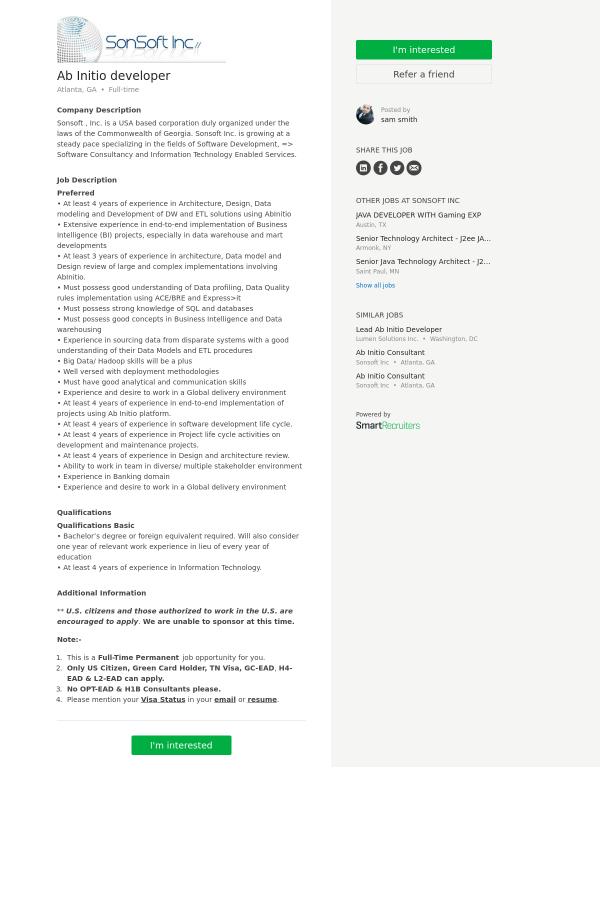 Ab Initio Developer Job At Sonsoft In Atlanta Ga 9963035