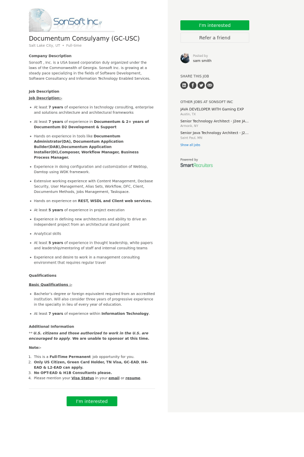 Documentum Consulyamy (GC - USC) job at SonSoft in Salt Lake