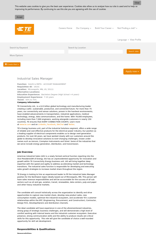 Industrial Sales Manager job at TE Connectivity in Minneapolis, MN ...