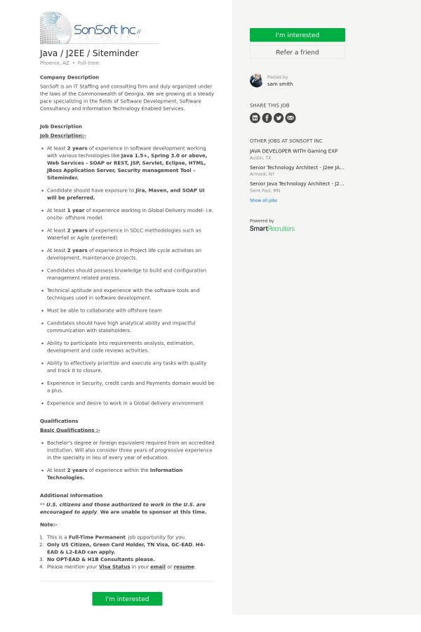 java j2ee siteminder job at sonsoft in phoenix az 9965466