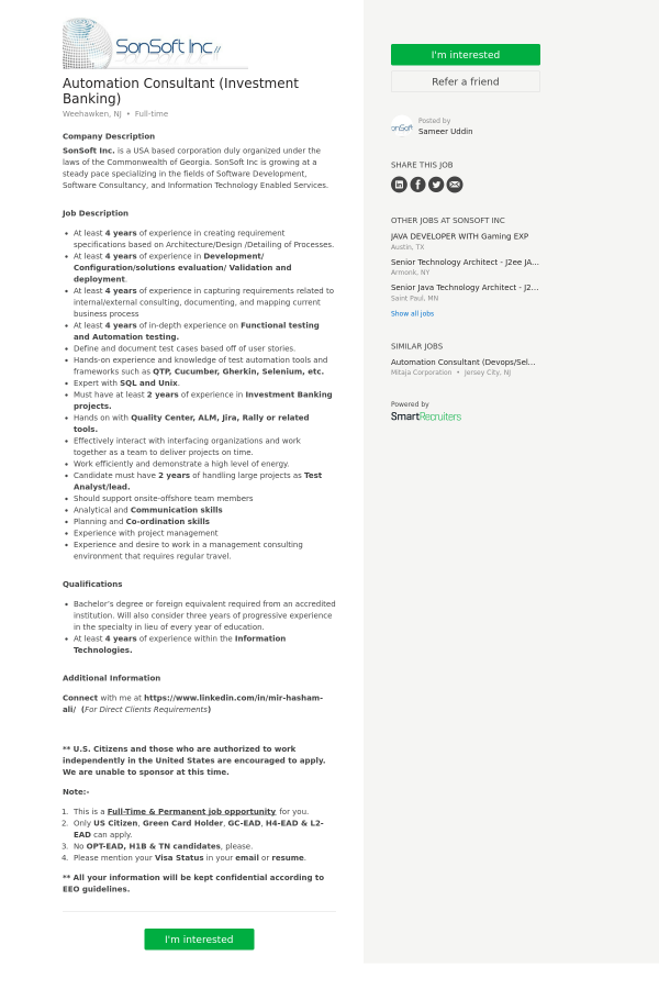 Automation Consultant (Investment Banking) job at SonSoft in ...