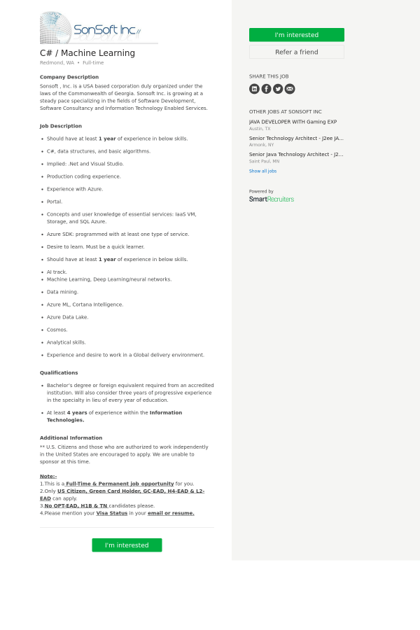 C# / Machine Learning job at SonSoft in Redmond, WA