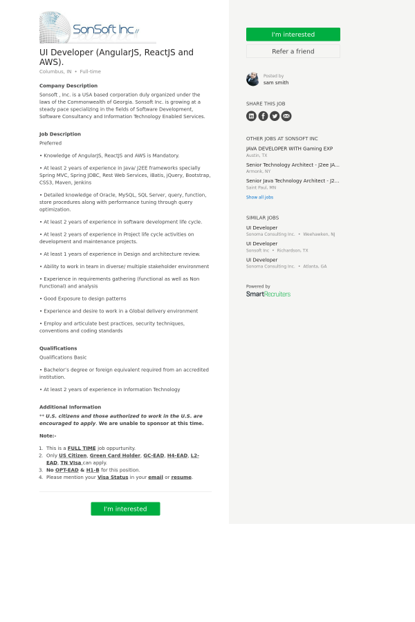 UI Developer (AngularJS, ReactJS and AWS) job at SonSoft in