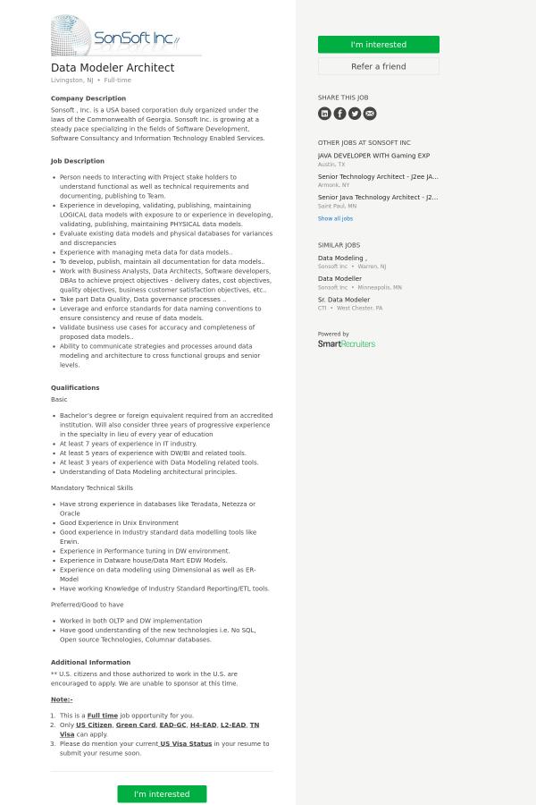 company description - Data Modeler Resume