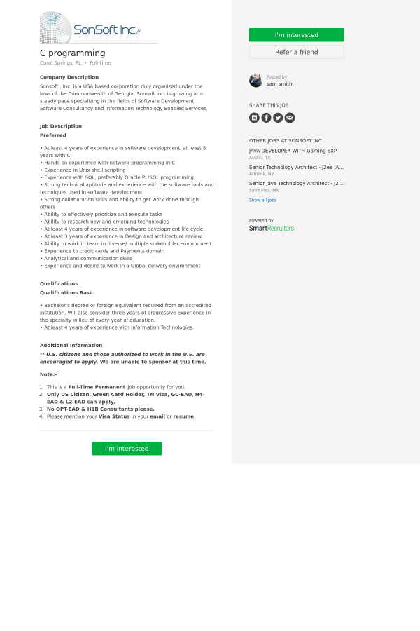 C Programming Job At Sonsoft In Coral Springs Fl 9976829 Tapwage Job Search