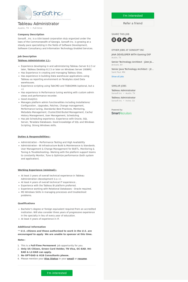 Tableau Administrator job at SonSoft in Austin, TX - 9977715
