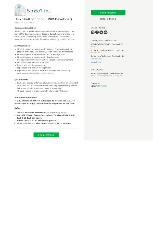 UNIX Shell Scripting (UNIX Developer) job at SonSoft in Plano, TX