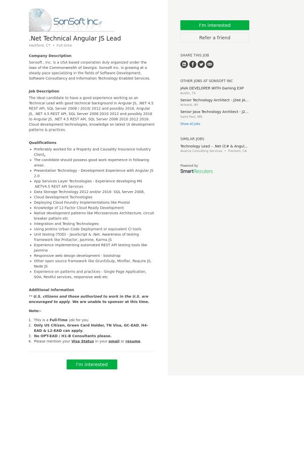 NET Technical Angular JS Lead job at SonSoft in Hartford, CT