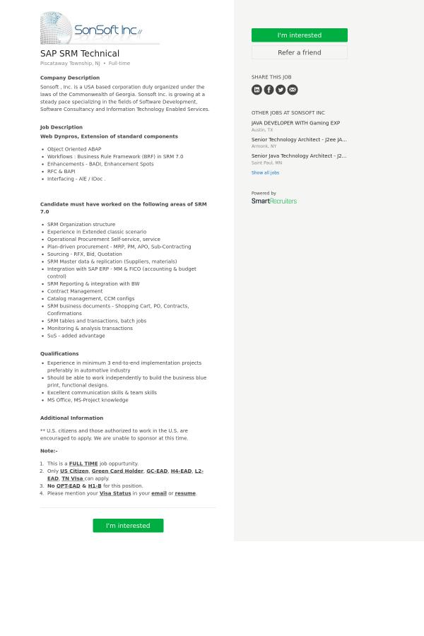 SAP SRM Technical job at SonSoft in Piscataway, NJ - 9978740