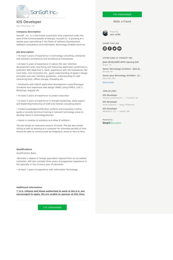 iOS Developer job at SonSoft in San Francisco, CA - 9978977