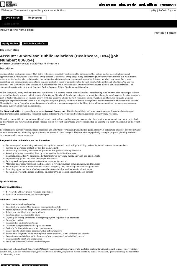 Account Supervisor, Public Relations (Healthcare, DNA) job at Weber ...