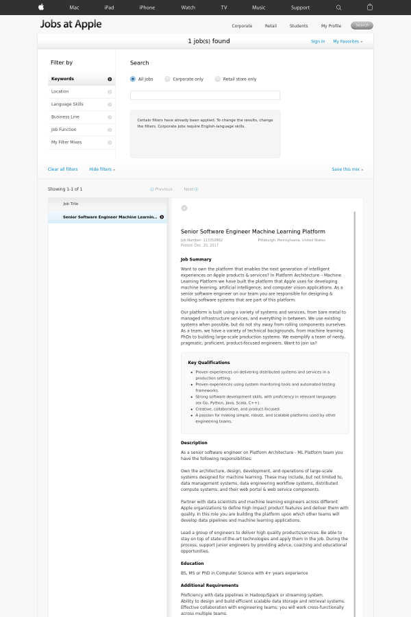 Senior Software Engineer Machine Learning Platform job at Apple in ...
