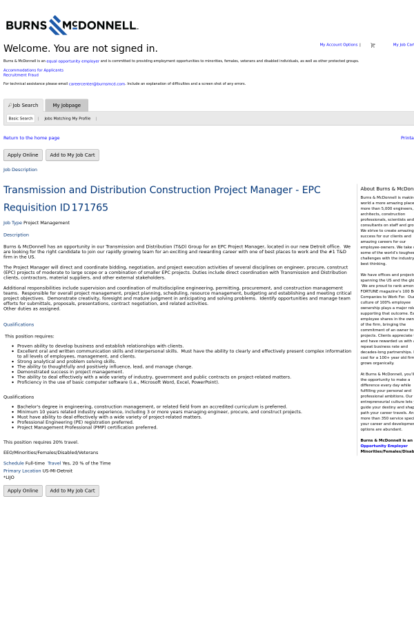 Transmission And Distribution Construction Project Manager Epc Job